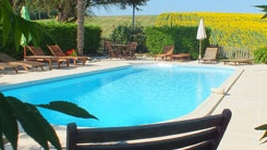 Heated pool at Peyrenegre holiday gites South West France
